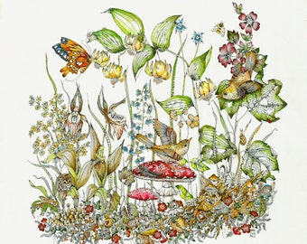 Fairy and Bird Art Fantasy Woodland Print Childrens Room Art