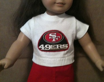 15 inch or 18 inch doll (modeled by American Girl and Bitty Baby) San Francisco 49ers shirt and skirt