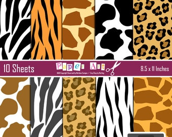 40% OFF- Animal Print digital paper, Wild animal print, Zebra, Tiger, Leopard, Cow, Giraffe, Animal Print Paper INSTANT DOWNLOAD