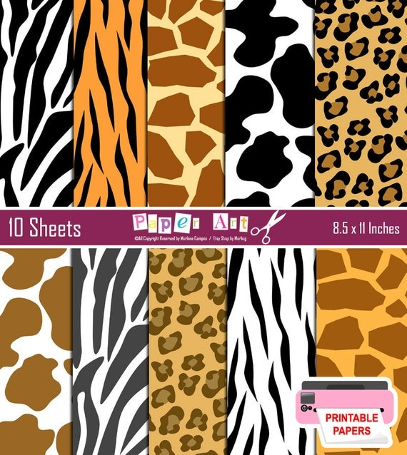 Animal Print digital paper, Wild animal print, Zebra, Tiger, Leopard, Cow, Giraffe, Animal Print Paper, Digital Paper Set - INSTANT DOWNLOAD