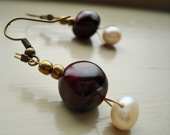 Deep Red and Freshwater Pearl Earrings