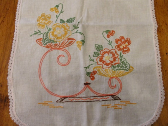 Vintage hand embroidered dresser scarf with by