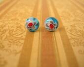 Light Blue Millefiori Glass Post Earrings, Light Blue Gem Earrings, Light Blue Jewelry