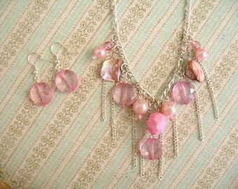 Pink Necklace, Pink Jewelry, Pink Beads Necklace, Pink Earnings
