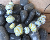 Periwinkle and Gold Handmade Glass Bead Set