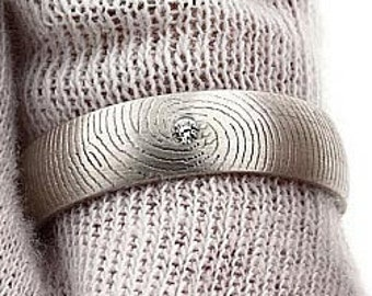 Diamond Fingerprint Ring - Sterling Silver Engraving Wedding Band - 6mm, satin finish, letter engraving, inscription.