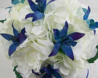 Galaxy Orchid Blue Dendrobium Orchid Silk Artificial Bridal Bouquet Destination Beach Wedding 2 Piece Silk Flower Package