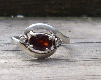 Handmade Garnet and faceted diamonds  Sterling Silver Ring