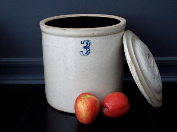 Antique Ceramic Crock Stoneware 3 Quart By Snapshotvintage