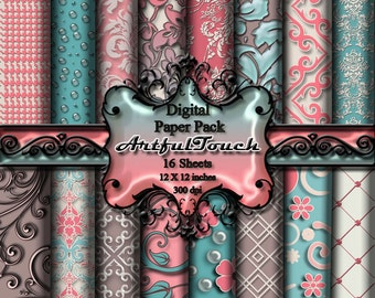 "Digital Paper, Digital Scrapbook Paper Pack, Aqua Brown Damask, 16 Digital Background, (12"" X 12"" - 300 DPI) INSTANT DOWNLOAD"