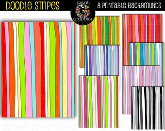 Doodle Stripe Digital Paper Printable Striped Party Invitation Paper Doodle Digital Paper - Instant Download