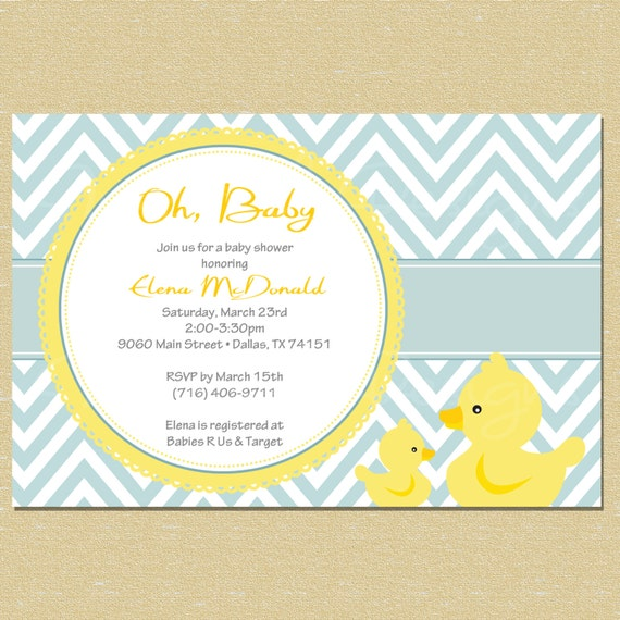 blue rubber duck baby shower invitation by littlemunchkinprints