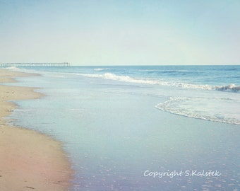 Beach Photography Coastal Shore Seaside Calming Ocean Photograph Aqua Blue Ocean and Pier Wall Decor 12x8