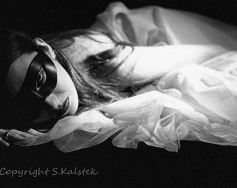 Masked Woman Photograph Black and white Goth Surreal Woman with Mask Portrait 12x8 Sensual Modern Goth Wall Art