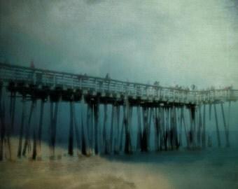 Virginia Beach Pier Photograph Deep Teal Blue Green Wall Art Night Ocean Shore Seaside Pier Photography 8x8 beach art