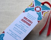 RESERVED for Abby - Mexican Tile Bookmark Invitation - Bridal or Baby Shower Invite Mexico Theme - Birthday Anniversary Party