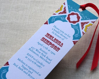 Mexican Tile Bookmark Invitation - Bridal or Baby Shower Invite Mexico Theme - Birthday Anniversary Party