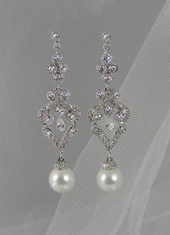 Vintage style Pearl Crystal Bridal Earrings, Swarovski Crystal wedding earrings Rhinestone  Bridesmaids, Faith Bridal Earrings