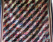 Antique Vintage LOG CABIN Quilt - 2-Sided design - Beautiful Old Fabrics - Quilts