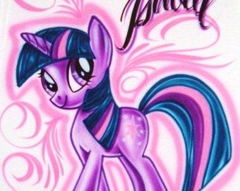 Airbrush t shirt my little pony twilight sparkle custom for My little pony twilight sparkle shirt