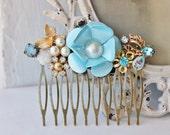 Tiffany Blue TRUE Vintage Assemblage Hair Comb,Bridal Hair Comb,Shabby Chic,Vintage,Wedding Hair Comb,OOAK
