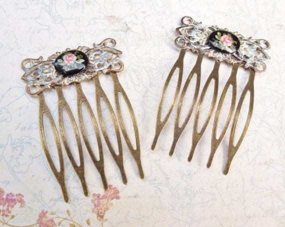 Petite Hair Comb With Vintage Porcelain Cabochon -Set of Two- Whitewashed Hair Comb with Black And Blush Floral Limoges,Shabby Chic,Bridal