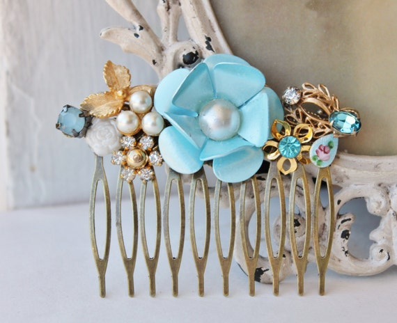 Tiffany Blue TRUE Vintage Assemblage Hair Comb,Bridal Hair Comb,Shabby Chic,Vintage,Wedding Hair Comb,OOAK