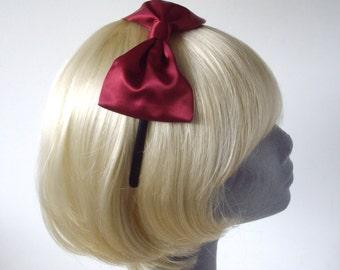 Burgundy Headband, Wine-Red Bow Headband, Wine-Red Bow Aliceband, Red Hair Bow, Red Hair Accessories
