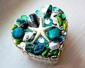 Aquamarine Silver Filigree Mosaic Heart Box