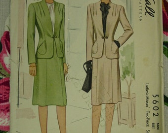 Vintage Pattern 1944 McCall No.5602 Two Piece Suit, Size14