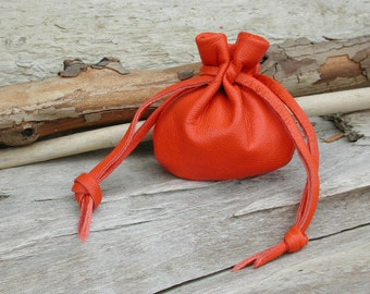 Leather Drawstring Pouch Bag - Coin Pouch - Pouch For Crystals - Bag For Stones - Orange - Handmade in the USA