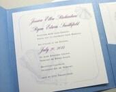 Beach Wedding Invitation Custom Pocketfold Blue Sea Shell Ocean Deep Purple Traditional Satin Ribbon Wrap Square Pocket