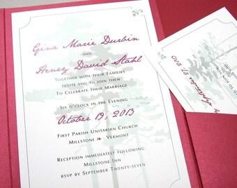 Fall Wedding Invitation Pocketfold Elegant Pine Tree Forest Green Deep Red Traditional Script Classic Autumn Custom Invite