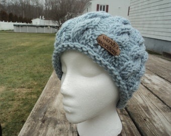 Women Knit hat, Knit Hat with Cable, Women Winter Hat, wool