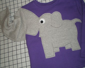 Toddler girls elephant trunk sleeve shirt. Grape purple size 4T