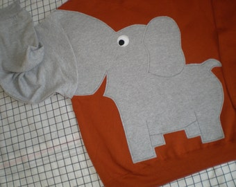 Elephant Trunk sleeve sweatshirt, elephant shirt,  elephant jumper, MENS XL RUST