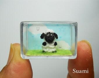 Tiny Crochet Sheep Lamb - Miniature Crocheted Animals - Made To Order