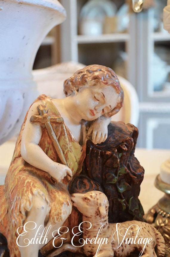 Rare Vintage Resting Christ Child With Lamb By Edithandevelyn