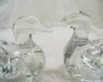Vintage Hen and Drake Duck Salt Cellars Set of 2