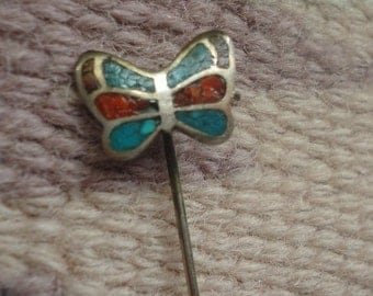 Vintage Butterlfy sterling silver, in-layed coral and turquoise stick pin