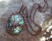 Sparkling Abalone Tree of Life Pendant Necklace
