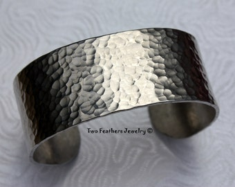 Hammered Cuff Bracelet - Textured Metal Cuff - Wide Cuff - Gift For Her - Bridesmaid Gift - Non Tarnish Jewelry - Aluminum Silver Cuff
