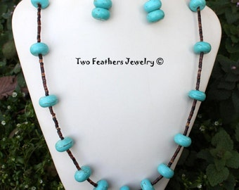 Turquoise And Shell Heishi Necklace And Earrings - Southwestern Jewelry - Turquoise Necklace - Turquoise Earrings - Gift For Her