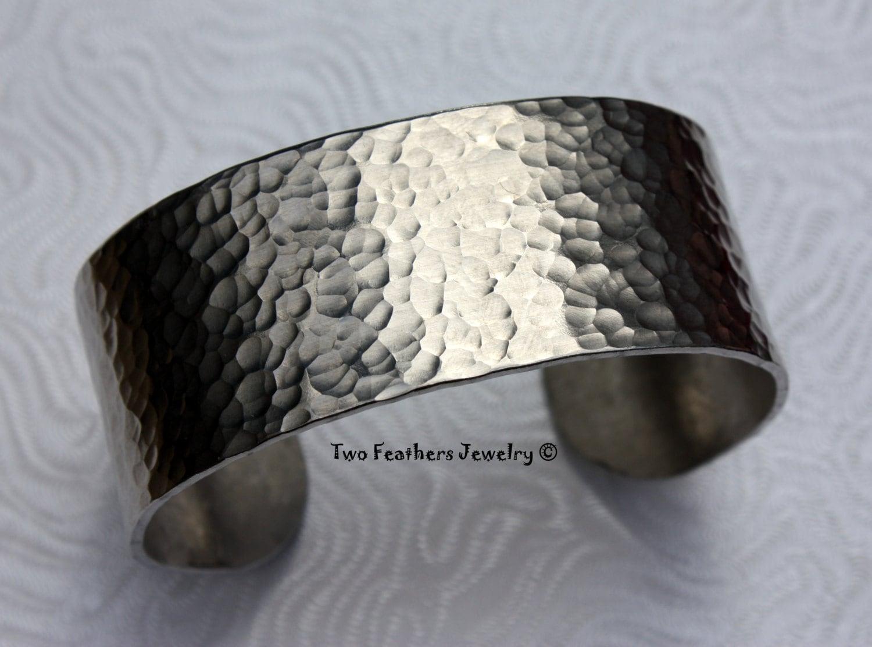 Hammered Cuff Bracelet Textured Metal Cuff Wide Cuff