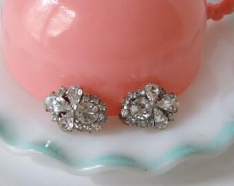 Vintage Weiss Earrings, Rhinestone Earrings, Clip On Earrings, Big Weiss Ear Clips