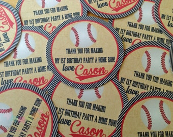 Vintage Baseball Tags, Personalized Favor Tags, Set of 12 Thank You Tags, Gift Tags
