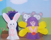 Little Bunny Foo Foo set of 5 Original Felt Finger Puppets for Imaginative Play and Learning