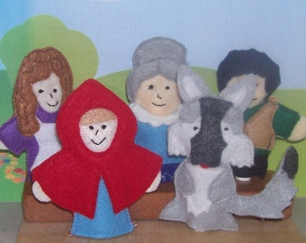 Red Riding Hood set of 5 Original Felt Finger Puppets for Imaginative Play and Learning