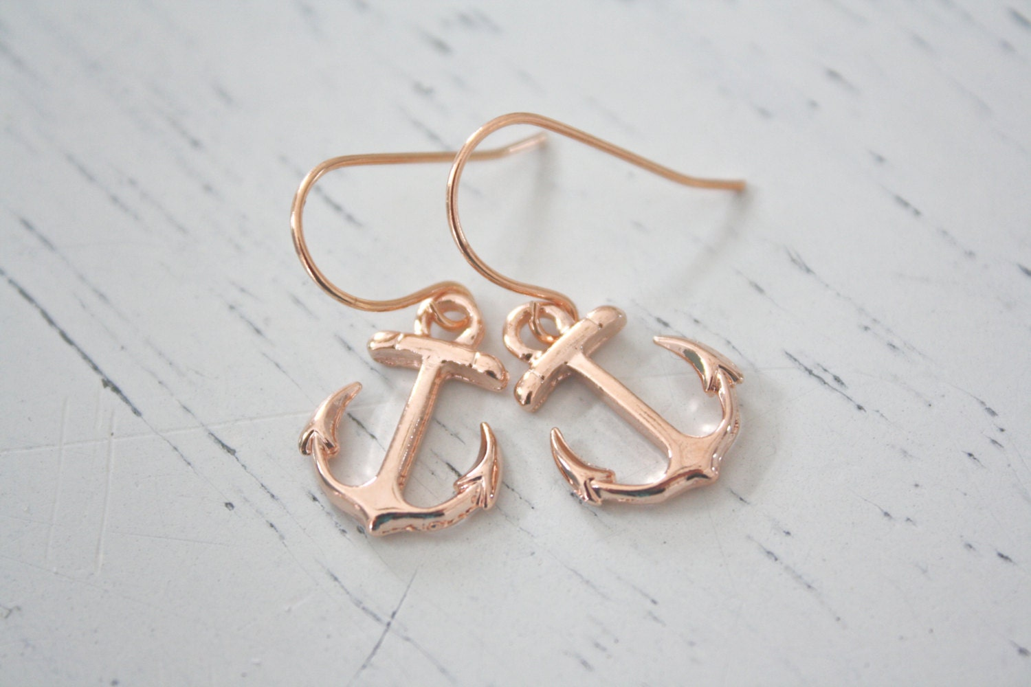 anchor dangle earrings rose gold earrings rose gold jewelry. Black Bedroom Furniture Sets. Home Design Ideas