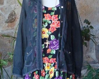 SHEER BLACK SHIRT vintage 1970s S